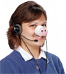 New Pig call service worker with iconic New Pig pig nose